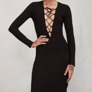 REFORMATION | Ribbed Mid-length Lace Up Dress XS